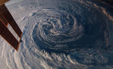 ISS hurricane space view