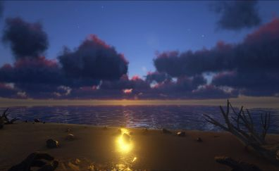 Beach sunset from ARK: survival evolved video game