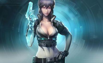 Motoko Kusanagi, Ghost in the Shell, anime girl, gun