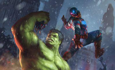 Hulk, captain america, fight, superhero, art