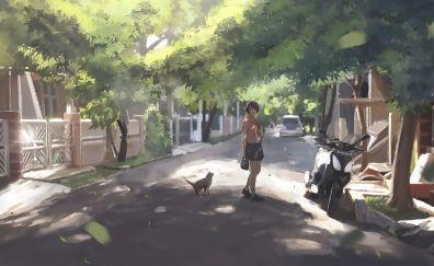 Anime girl, cat, street, art, original