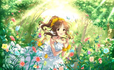 Aiko Takamori in garden, smile, anime girl