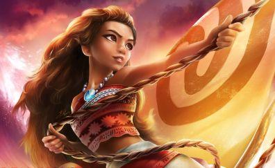 Moana, animation movie, girl, art