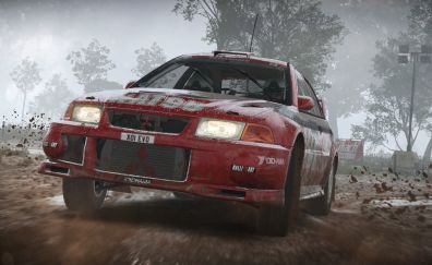 Race game, Dirt 4, red car, front view