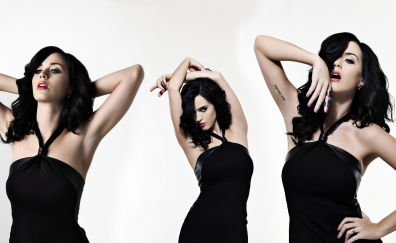 Black dress, singer, Katy Perry, collage