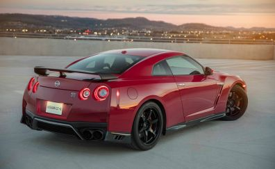 Nissan GT-R, rear view, red car