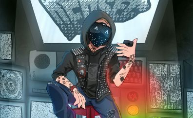 Watch dogs 2, video game, cartoonic artwork