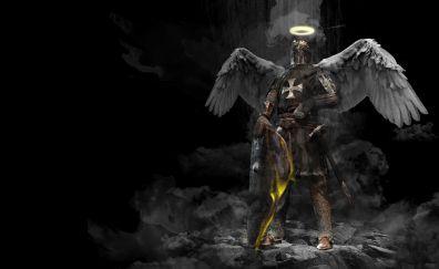 Knight, wings, dark, angel, warrior, art, 4k