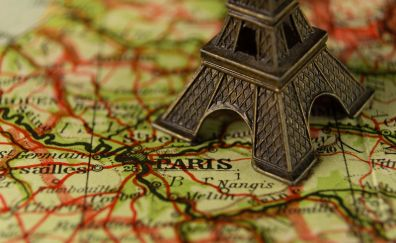 Eiffel tower miniature and france map wallpaper