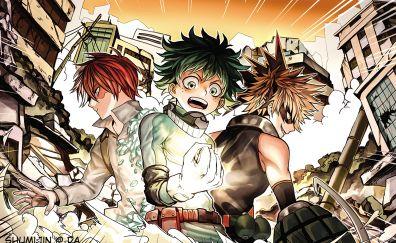 Izuku Midoriya, Shouto Todoroki, Katsuki Bakugou, Boku no Hero Academia, anime boy