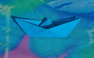 Blue, paper, boat
