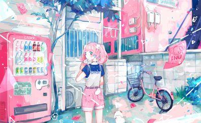 Pink hair anime girl, original, art