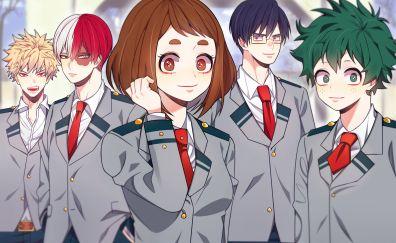 Ochako Uraraka, Shouto Todoroki, Tenya Iida, Ochako Uraraka, friends, My hero academia, anime