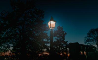 Lantern, night, pillar, lamp, street lights