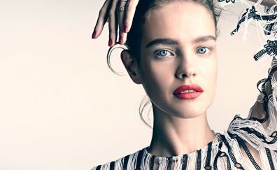 Natalia Vodianova, makeup, red lips, face