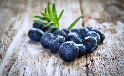 Wooden floor, blueberries, fruits