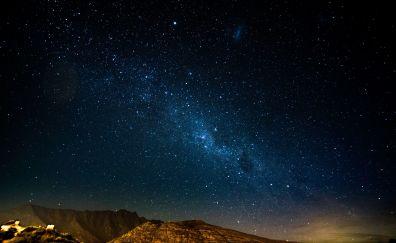 Starry night, mountains, radiance, stars, milky way, glitter, 4k