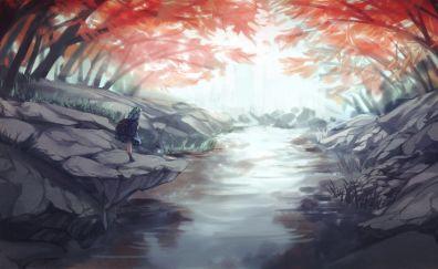 Nitori Kawashiro, Touhou, forest, anime girl