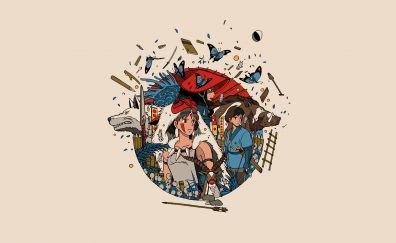 Minimal, anime, Princess Mononoke
