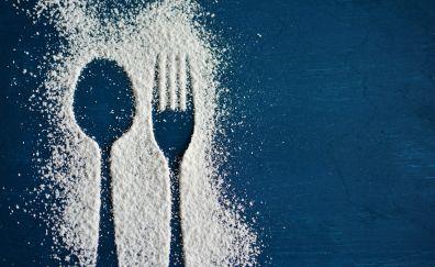 Spoon, footprint, flour