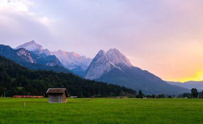 Cottage, landscape, mountains, landscape, nature