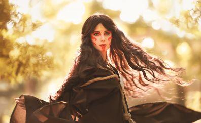 Girl model, cosplay, outdoor