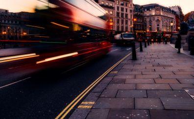 Trafalgar Square, city, street, London, motion blur