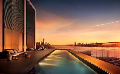 Sunset, new york, city, swimming pool, 4k