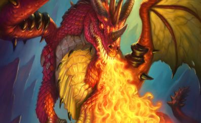 Fantasy, dragon, hearthstone: kobolds and catacombs, video game, 4k