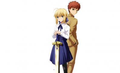 Saber, fate series, Shirou Emiya, Fate/stay night, anime