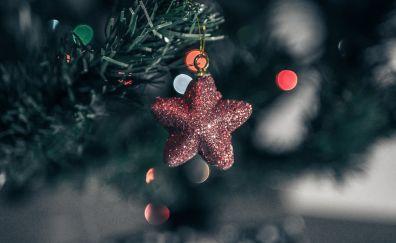 Stars, Christmas, tree, decorations, 2017, blur, bokeh, 4k