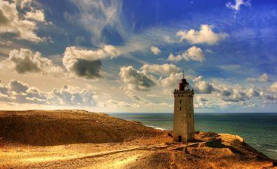 Rubjerg Knude lighthouse, lighthouse, landscape, sea, clouds, denmark