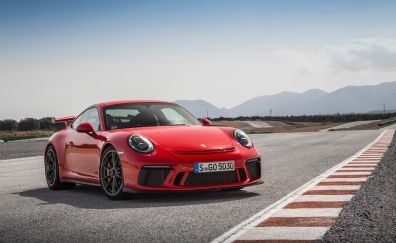 2018 Porsche 911 GT3, guards red, front view, 4k