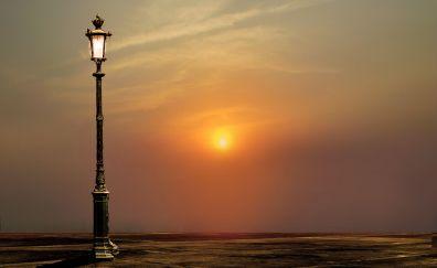 Sunset, street lights, lantern, lamp, dusk