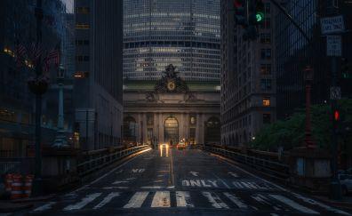 Road, new york, night, city