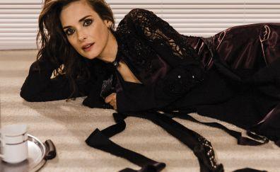 Winona ryder, black dress, lying down
