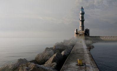 Lighthouse, quay wall, rocks, fog