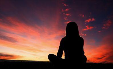 Meditation, sunset, sky