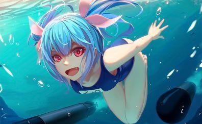 Underwater, anime girl, blue hair, kancolle