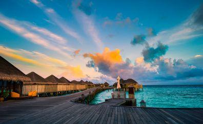 Maldives island sunrise sky sea