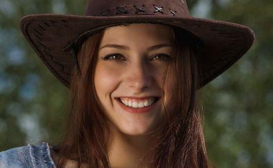 Isabella, smile, face, hat