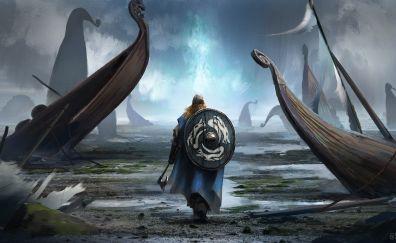 Vikings, warrior, fantasy, art