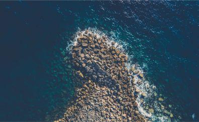 Rocks, coast, aerial view, lake