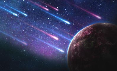 Planet, meteorites, 4k, space