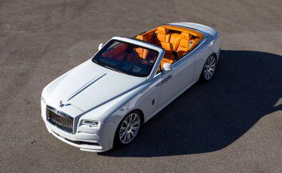 White Rolls-Royce Dawn, top view, luxury car