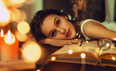 Bokeh, book, reading, lights, girl