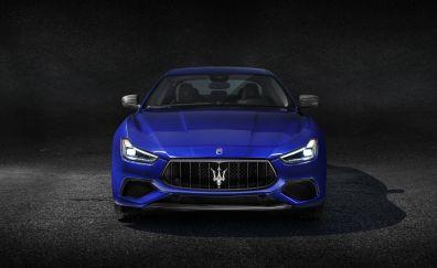 2018 Maserati Ghibli GranSport, blue car, 4k
