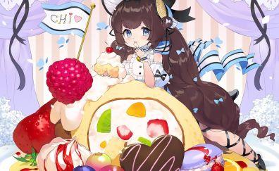 Cake, cute, original, anime girl