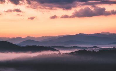 Dawn, fog, mist, nature, horizon, 5k