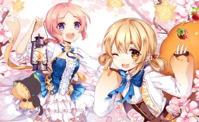 Anime girls, original, fun, cherry blossom